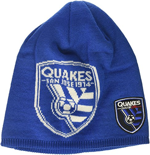 adidas MLS San Jose Earthquakes Men's Glow in The Dark Knit Beanie, One Size, Blue 100% Acrylic Knit Glove