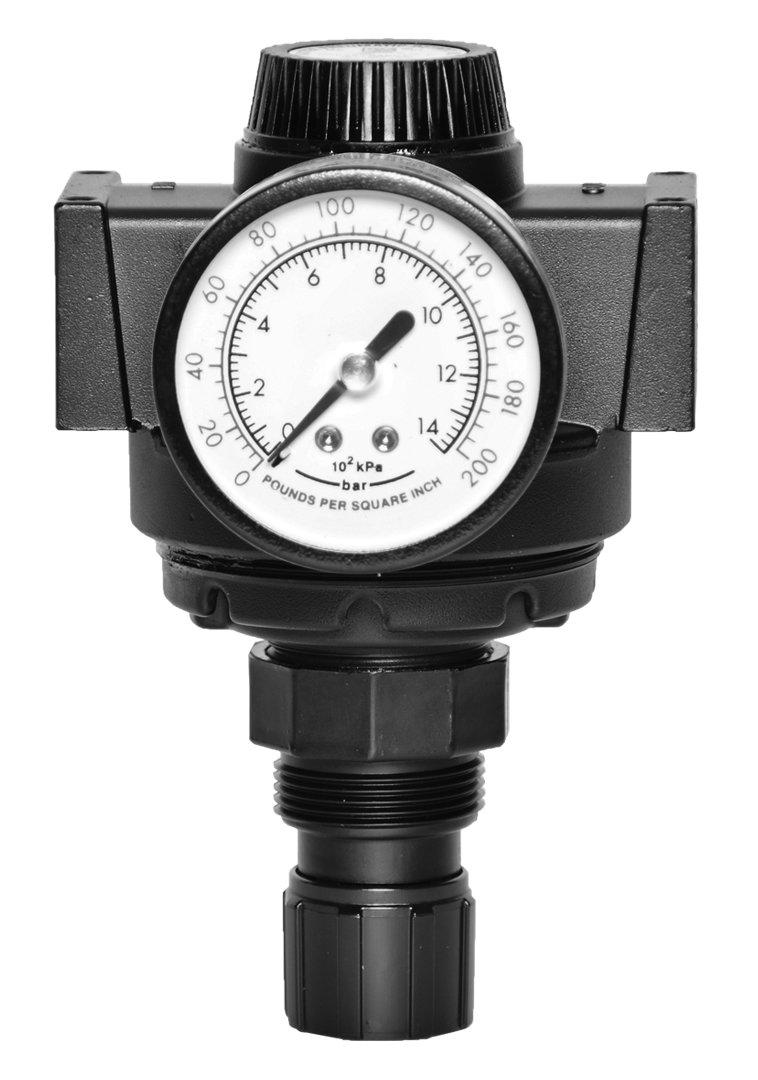 Ross Controls 5213C3018 Full-Size Series Precision Diaphragm Regulator, Self-Relieving, 15 psi - 200 psi (1-13.8) Pressure Range, Knob Adjustment, 0 psi - 200 psi (0-13.8) Gauge