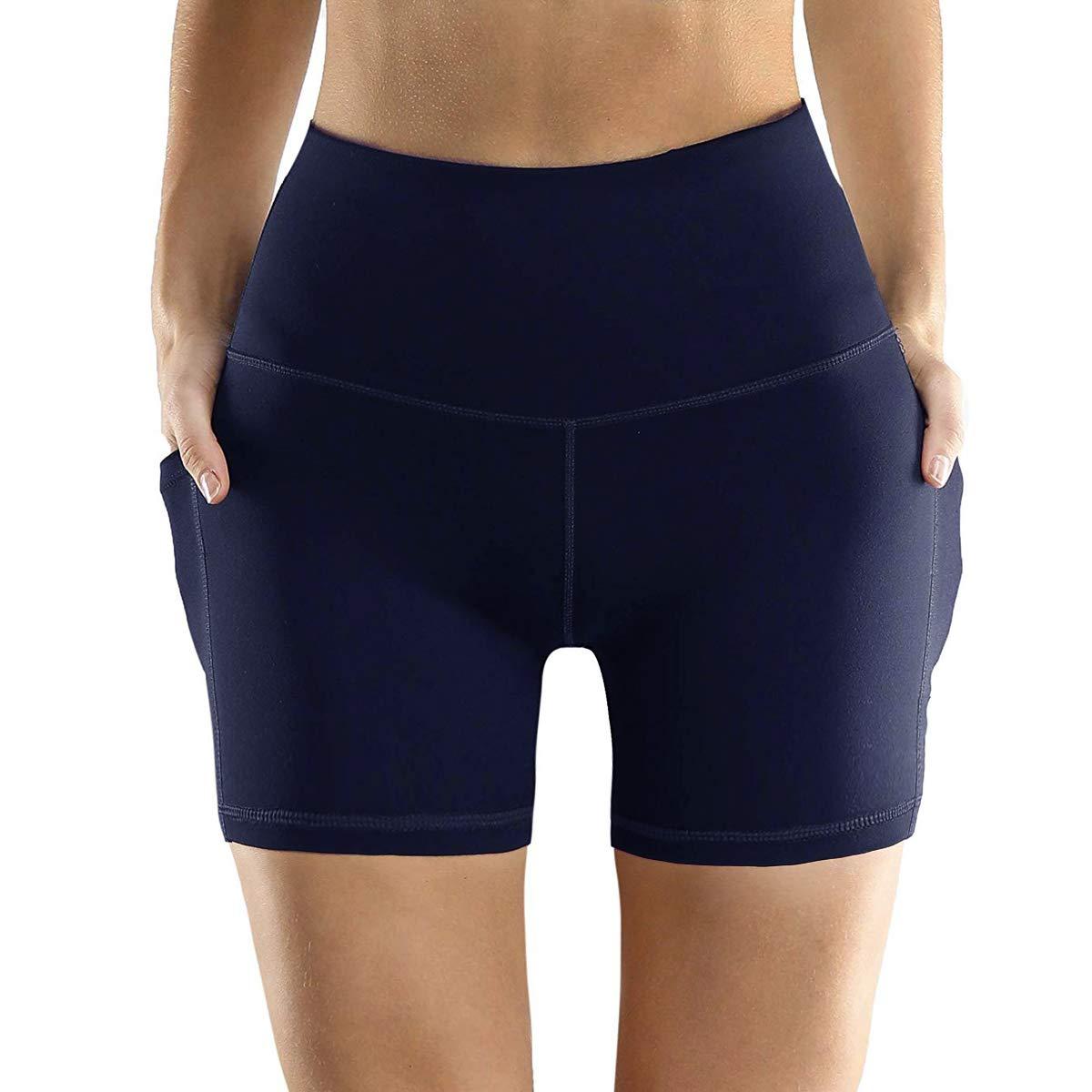 DILANNI Women's Short Yoga Side Pockets High Waist Bike Workout Running Shorts(Navy Blue S)