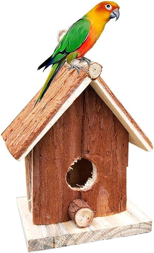 Cozyhoma Casa de pájaros de Madera, para Colgar al Aire Libre, Hecha a Mano para Exteriores, Caja de pájaros para tragar, gorrión, colibrí y petirrojo, A: Amazon.es: Jardín