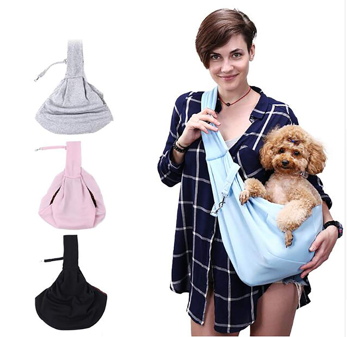 bluee Reversible Small Dog Bag Cat Sling Carrier Bag Travel Tote Breathable Double-Sided Pouch Shoulder Carry Tote Handbag,bluee
