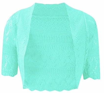 1797488b088a1 RM Fashions Womens Plus Size Crochet Knit Bolero Cardigan Shrug Top Aqua  Small