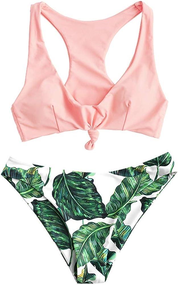 ZAFUL Zweiteiliger verknotet Tankini Beachwear Set einfarbiger gepolsterter Badeanzug mit Schultertr/äger /& Badehose mit Tropisches Blattmuster f/ür Damen