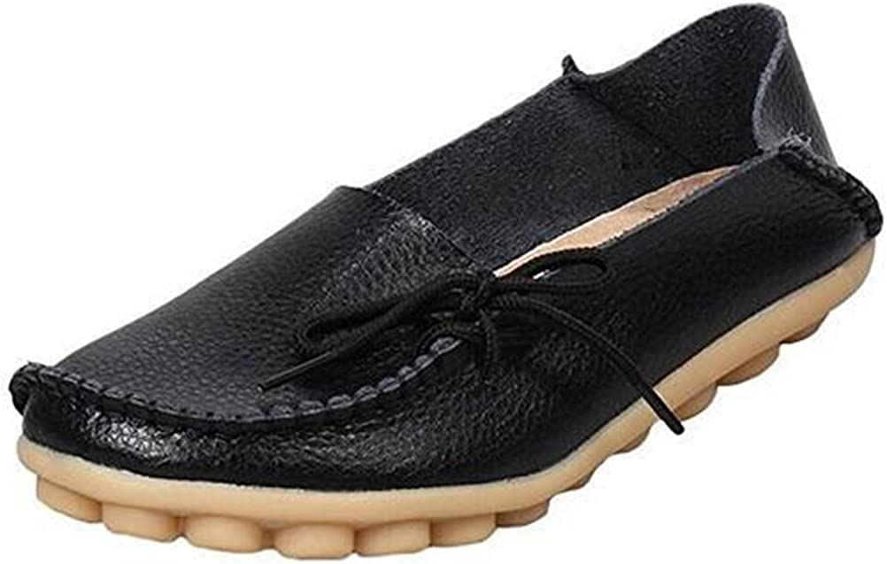 Mordenmiss Womens Casual Solid Color Moccasins Leather Loafer Shoes