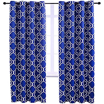 Jinlei 100/% Blackout Curtains for Bedroom Room Darkening Thermal Insulated Curtains for Living Room Faux Silk Striped Color Block Drapes 42 x 96 Inch Blue Set of 2 Curtain Panels
