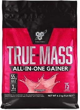 BSN True Mass All In One Gainer, Proteínas para Aumentar Masa Muscular con Creatina Monohidratada, Glutamina, Vitamina D y Zinc, Fresa, 25 Porciones, ...