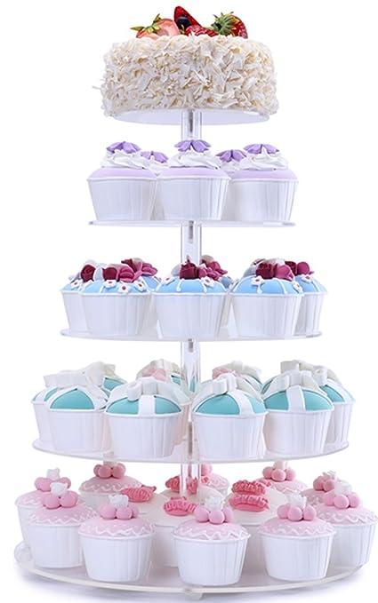 Amazoncom BonNoces 5 Tiers Round Acrylic Pastry Wedding Cupcake