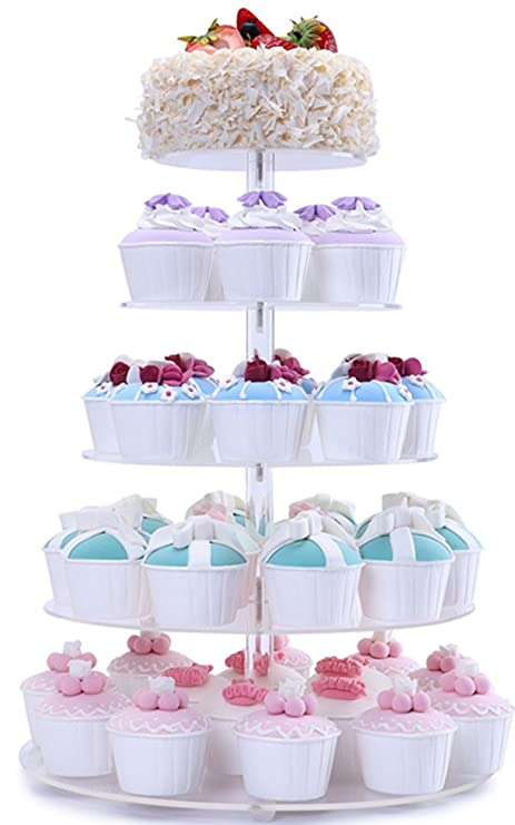 BonNoces 5 Tiers Round Acrylic Pastry Wedding Cupcake Stands Tower  Tree Cupcake Carrier Clear