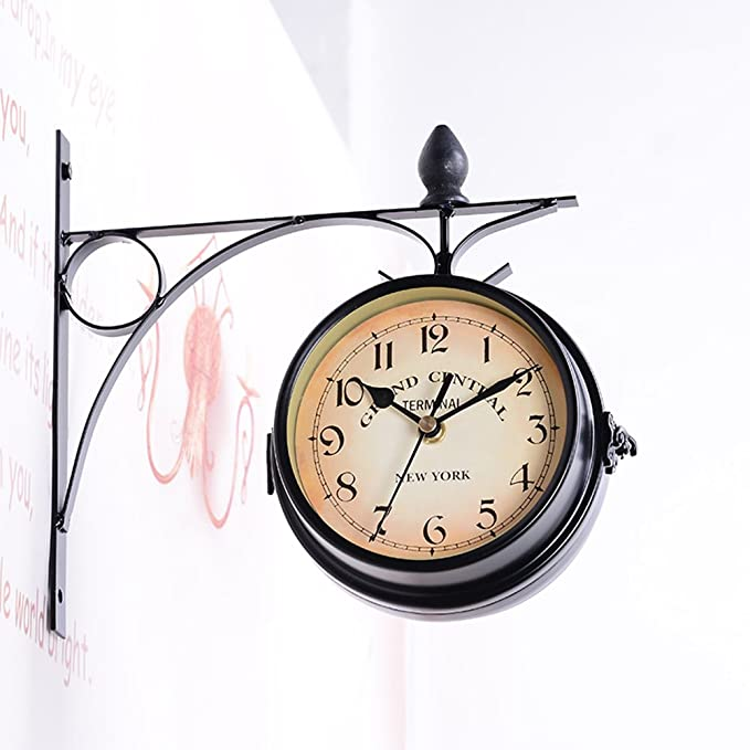 Amazon.com: VORCOOL Double Sided Wall Clock Creative Classic Clocks Monochrome (Black): Home & Kitchen
