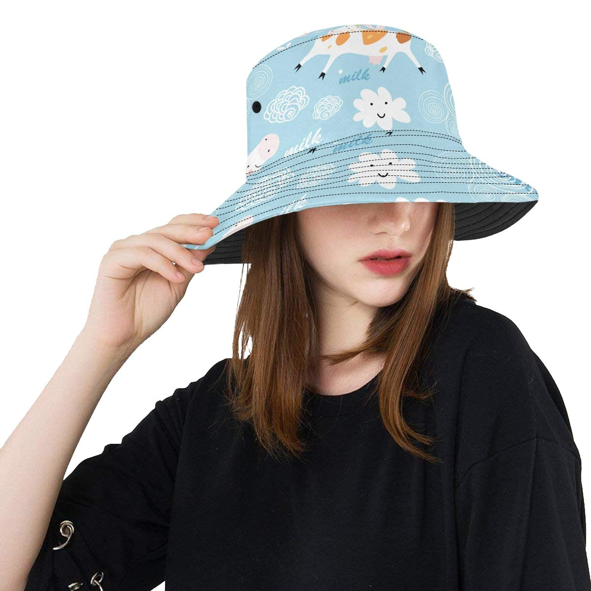 Creative Cow Cartoon Animal New Summer Unisex Cotton Fashion Fishing Sun Bucket Hats for Kid Teens Women and Men with Customize Top Packable Fisherman Cap for Outdoor Travel