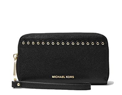 0104723275e0 Image Unavailable. Image not available for. Color: MICHAEL Michael Kors  Large Scalloped Leather Smartphone Wristlet Black
