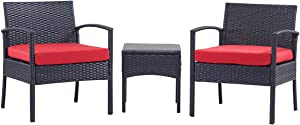 PCAFRS 3 Piece Patio Furniture Set, PE Rattan Wicker 3 Pcs, Outdoor Wicker Rattan Conversation Set with Coffee Table, Chairs & Thick Cushions, Conversation Chair Set for Garden, Porch, Poolside (Red)