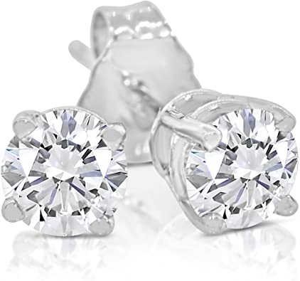 2 Ct Round Lab-created Earrings Diamond Studs Solid 14K White Gold Screw Back