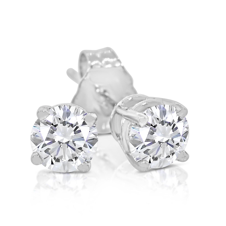 1/2ct tw Round Diamond Stud Earrings 14k White Gold by Inara Diamonds