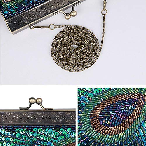 Retro Party Linnet Beaded Handmade The Wedding Sequined Blue Evening Women's Bag Envelop Clutch Banquet Dinner Handbag zBIC6wx