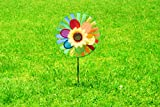 Pinwheel 3 Pack Made of Durable 100% Weatherproof Nylon and Fiberglass | Rainbow Colored spinner for Gardens dance in the slightest of breezes.