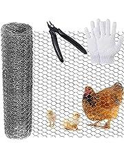 Kip Netting Wire Mesh voor ambachtelijke projecten,400 mm × 7 m Lichtgewicht Gegalvaniseerde Zeshoekige Draad voor DIY Craft en Home Decors, Konijn Schermen met Cutter Tang en Handschoenen