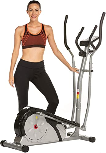 FUNMILY Elliptical Machine, Elliptical Trainer Machine for Home Use with LCD Monitor and Pulse Rate Grips Magnetic Smooth Quiet Driven