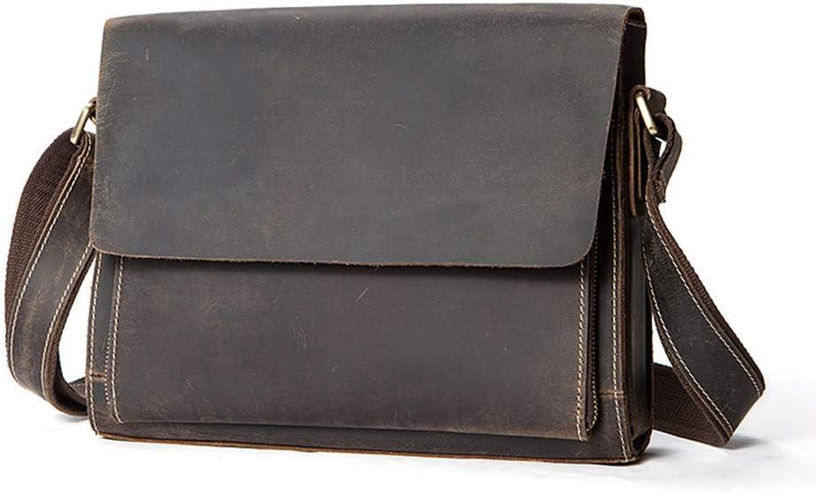 GLJJQMY Mens Messenger Bag Shoulder Bag Vintage Leather Briefcase Crossbody Bag Briefcase