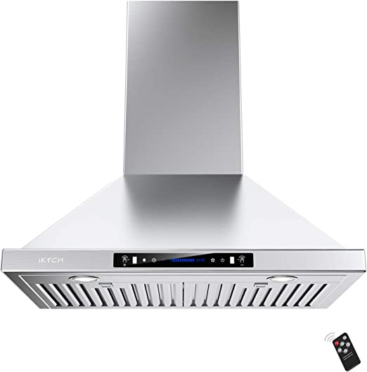 Amazon Com Iktch 36 Inch Wall Mount Range Hood 900 Cfm Ducted Ductless Convertible Kitchen Chimney Vent Stainless Steel With Gesture Sensing Touch Control Switch Panel 2 Pcs Adjustable Lights Appliances