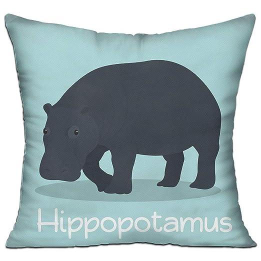 Jxrodekz Lindo hipopótamo en Azul Cielo Funda de cojín ...