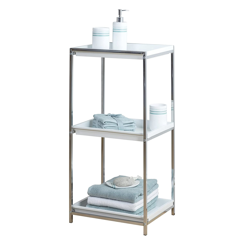 Sheldon 3 Tier Chrome Bathroom Storage Unit White Plastic Tray Shelf ...