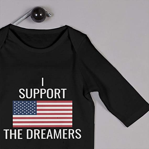 Suit 6-24 Months Baby Girls Round Collar I Support The Dreamers US Flag Long Sleeve Romper Jumpsuit 100/% Cotton