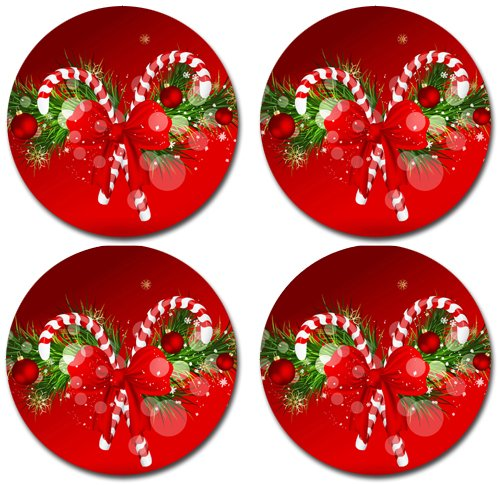 Christmas Rubber Round Coaster set (4 pa - Christmas Coasters Shopping Results