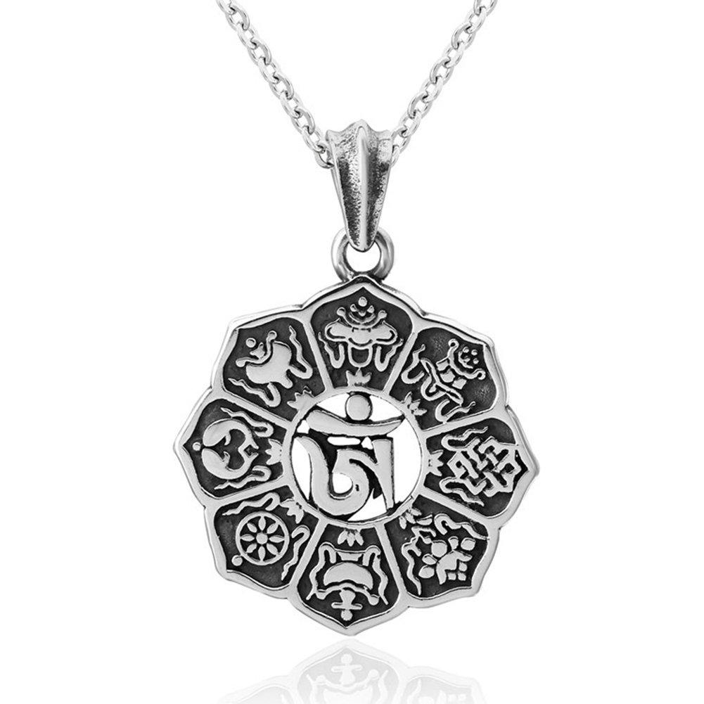 24 Chain JAJAFOOK Retro Gothic Tibetan Buddhism Lotus Sanskrit Pendant Amulet Necklace