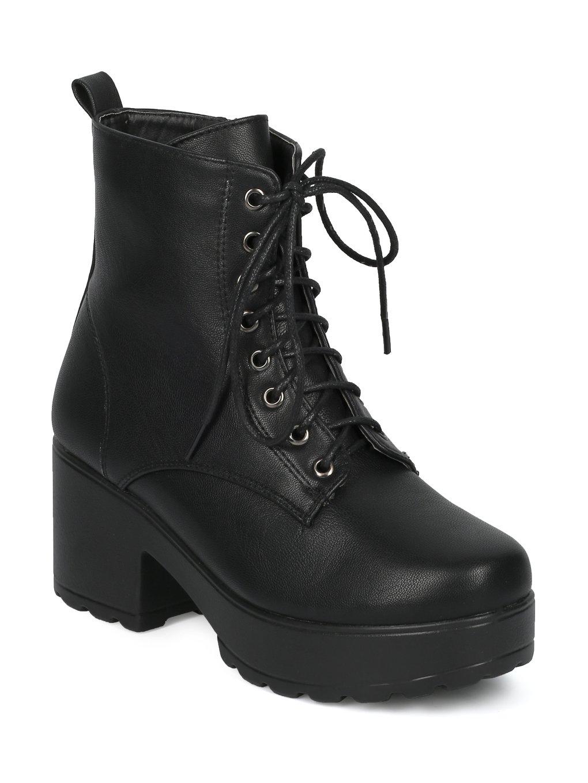 Indulge Mona I Women Faux Suede Platform Lug Sole Block Heel Combat Bootie HE17 B075KM86WJ 10 M US|Black Leatherette