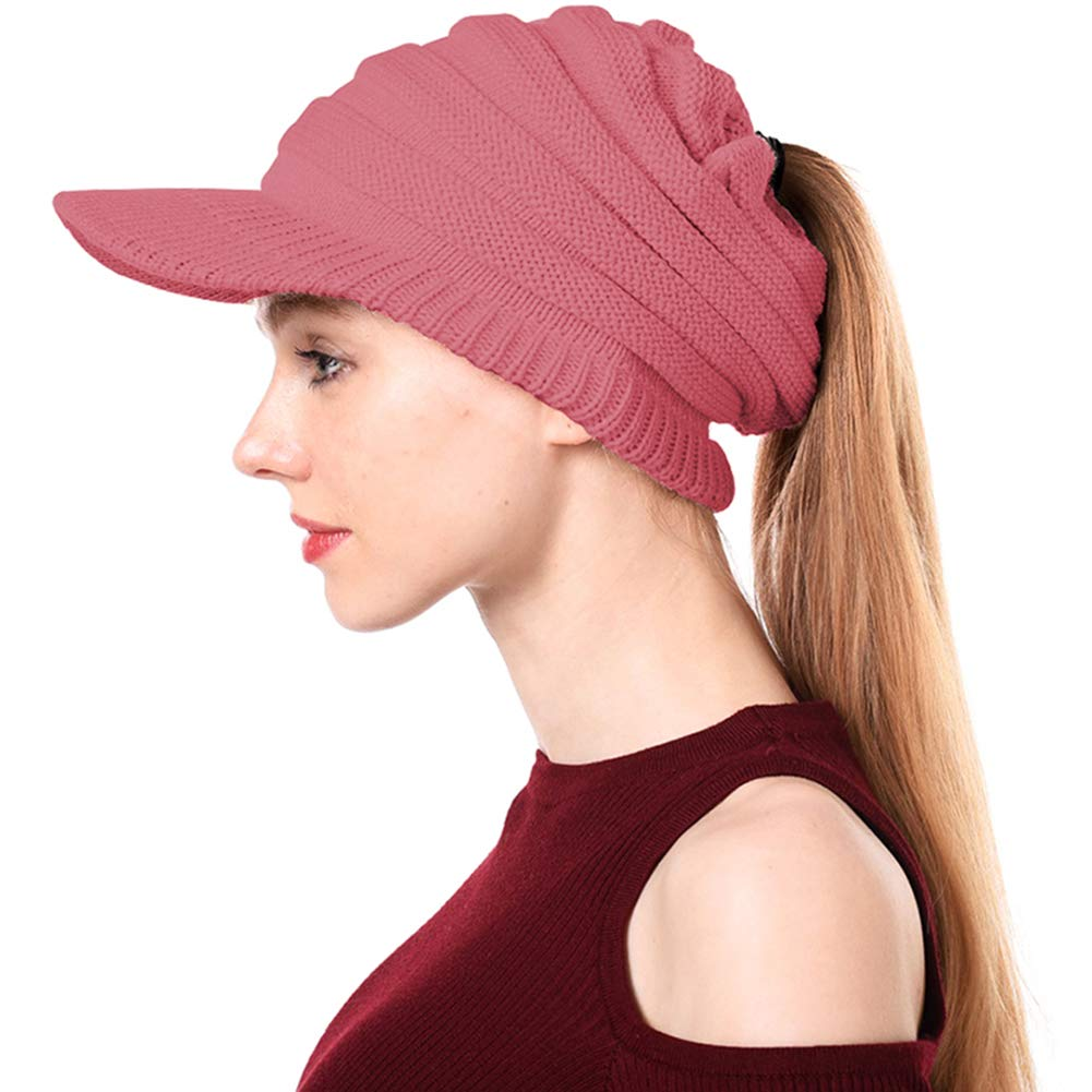 551f4a7ffde2 Peicees Warm Soft Brimmed Beanie Hat Winter Chunky Cable Knit Cap High  Ponytail Hats for Girls Women(Pink)