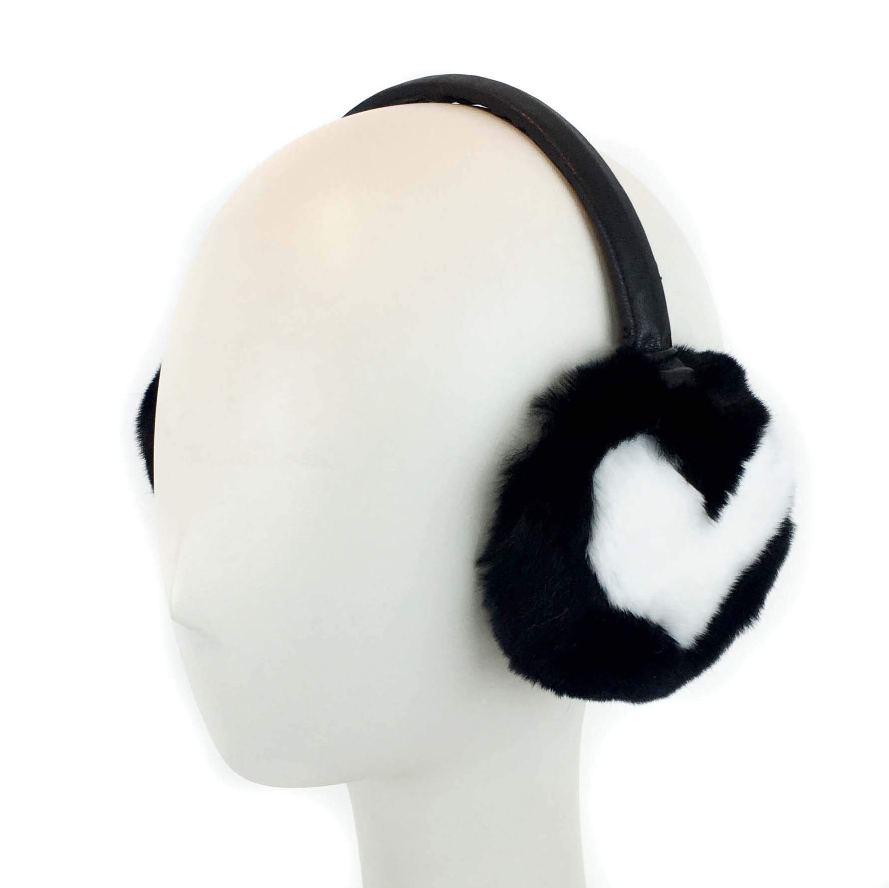 Surell Heart Rex Rabbit Fur Earmuff with Adjustable Leather Band - Winter Ear Warmer