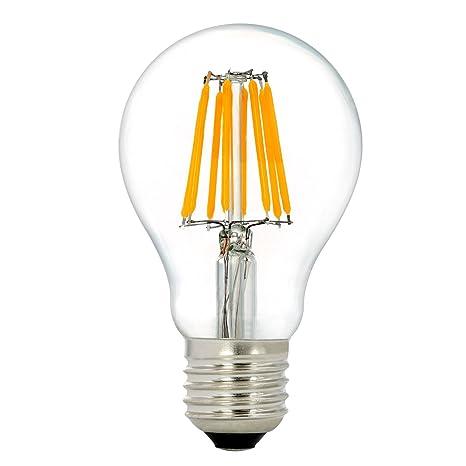 NATIONALMATER A60 8W LED Bombilla de Filamento Lámpara de Luz del Hogar Reemplazo de Bombillas Incandescentes