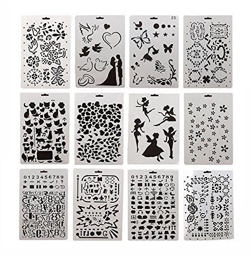12 pcs plastic bullet journal stencils a4 letters and numbers alphabet symbols plannernotebookdiaryscrapbook diy drawing supplies template stencils set