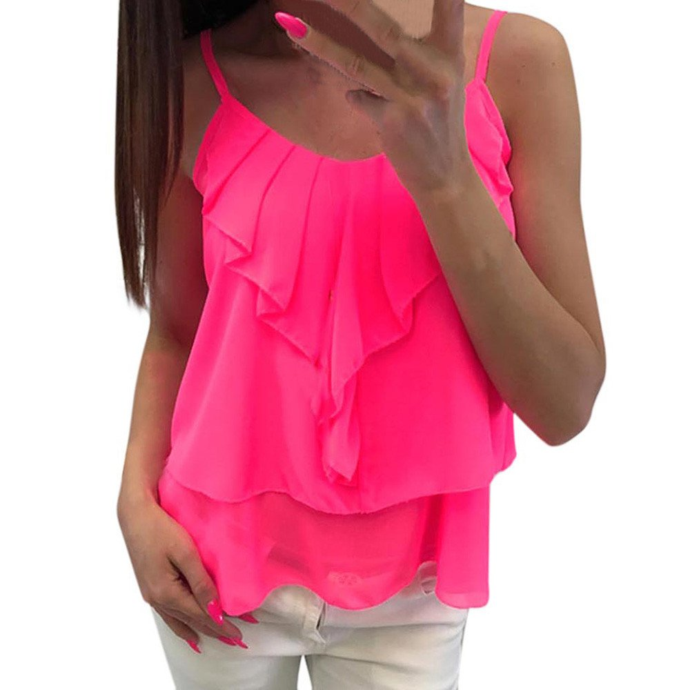 Sexy Women Tops Chiffon Fashion Casual Solid Backless Camis Chiffon Ruffles Tank Tops Vest Hot Pink