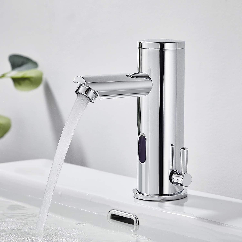 Auralum - Grifo con Sensor Infrarrojo Automático Electrónico, Grifo Sensor de Lavabo para Agua Caliente y Fría, Grifo Automático Baño de Latón Cromado