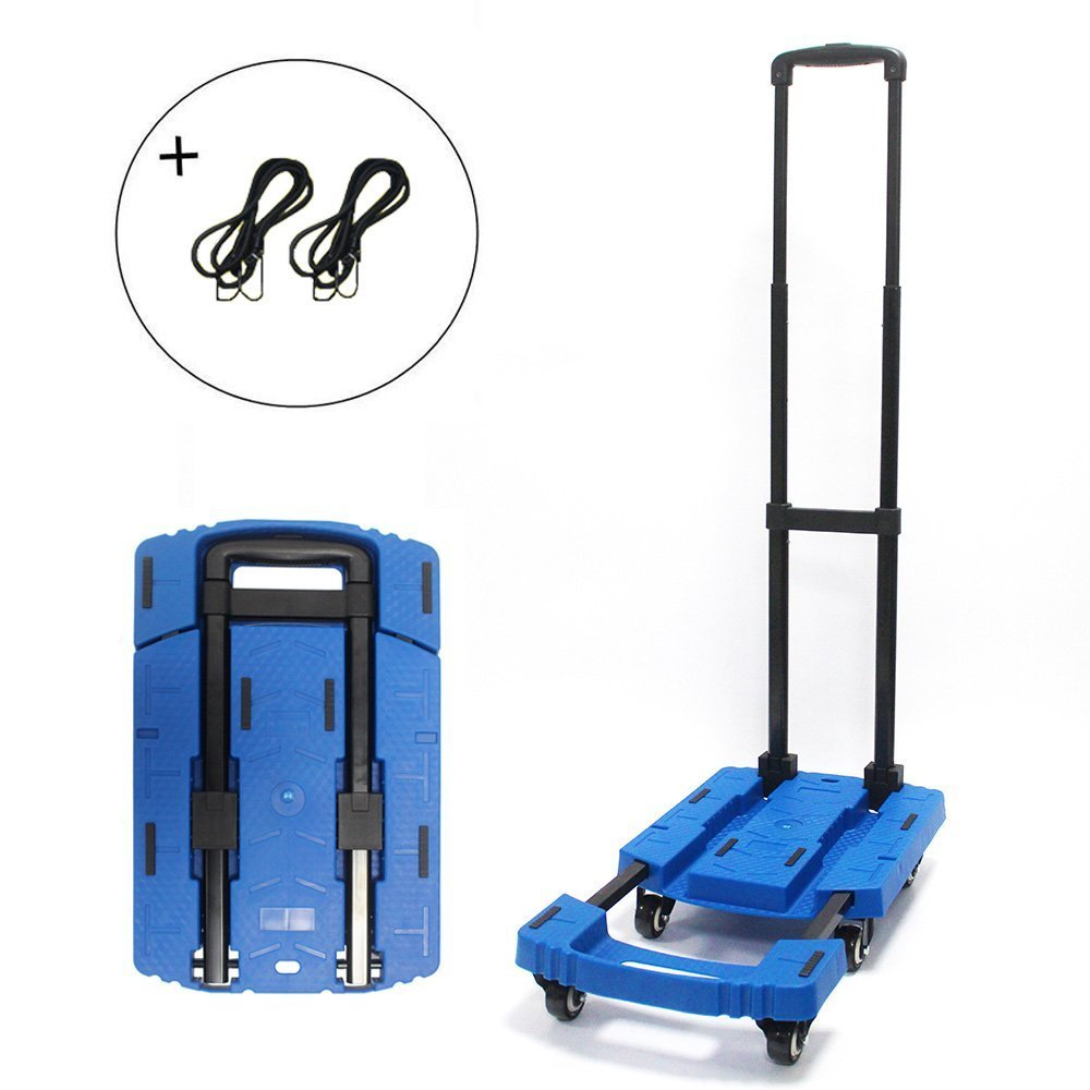 Folding Luggage Cart Portable Hand Truck 440lbs 360° Rotate 6 Sturdy Wheels Blue