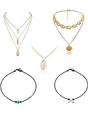 Spiritlele 2 Pack Pearl Shell Choker Necklace Set Cowry Beach Anklet Bracelet for Women