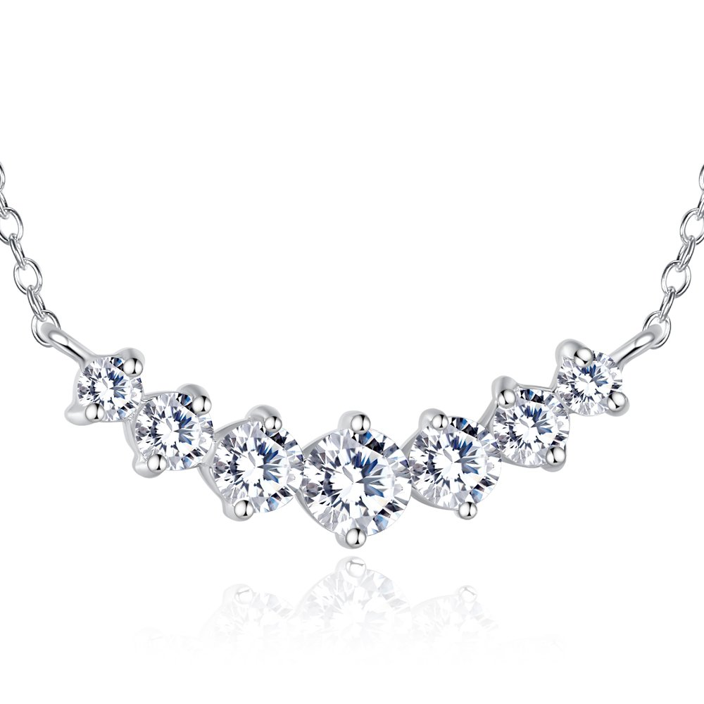 Ashley Jeweller 925 Sterling Silver Cubic Zirconia Shining Bridal Pendant Necklace Rhodium Plated 18