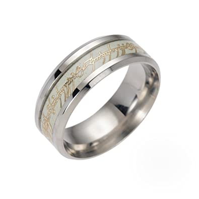 Amazoncom Mens Lord of the Rings Ring Glow in the Dark Stainless