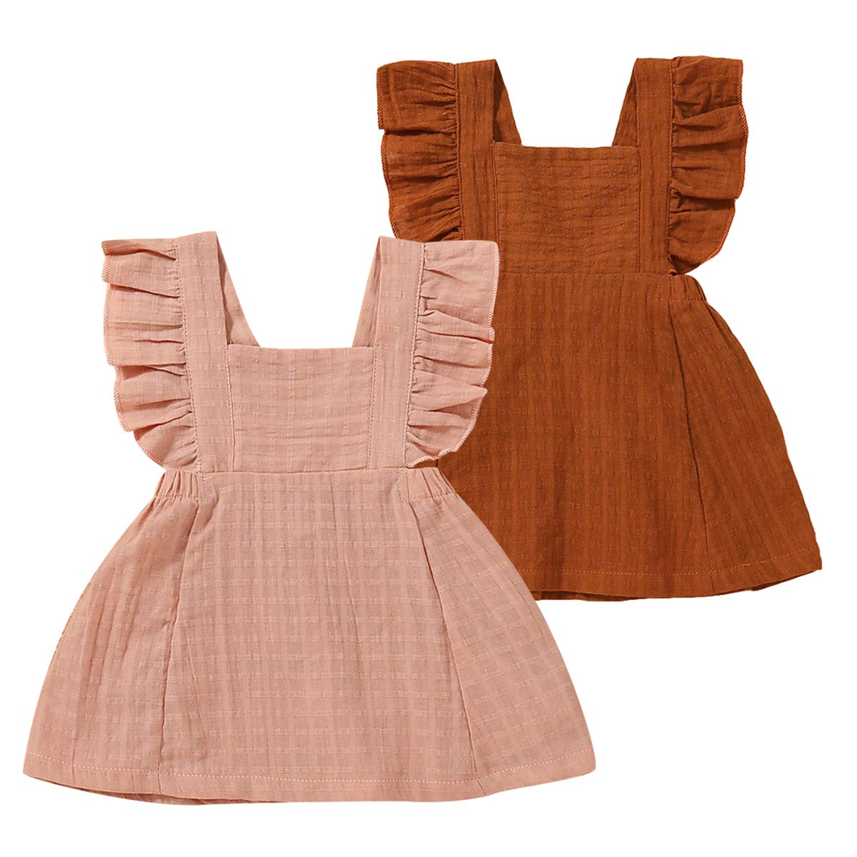 Baby Girl Casual Ruffled Dress Pure Color Sleeveless Dress for Summer Pink