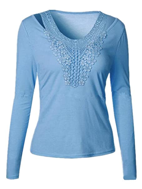 Tayaho Camisetas Manga Larga Mujeres Blusas De Encaje Tops Flores Lace Crochet Camisas Color SÓLido T