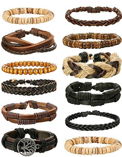 FIBO STEEL 12 Pcs Braided Leather Bracelets for Men Women Woven Wrap Bracelet Cuff Adjustable,SMS