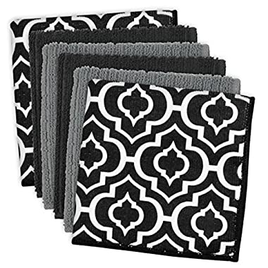 DII Cleaning, Washing, Drying, Ultra Absorbent, Lattice Microfiber Dishcloth 12x12  (Set of 6) - Black