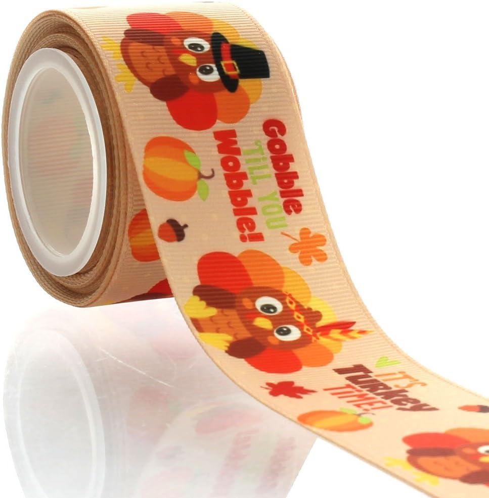 """5 yards Thanksgiving Gobble til you wobble printed 7//8/"""" grosgrain ribbon"""