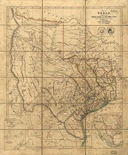 Vintage 1841 Map of Map of Texas - Relief shown by hachures. -