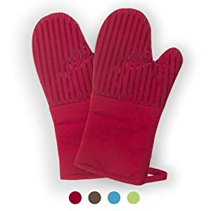 Buzhan Oven Mitts 1 Pair of Quilted Cotton Lining - Heat Resistant to 500 Degrees Kitchen Gloves,Flame Oven Mitt Set (Red, Cotton)