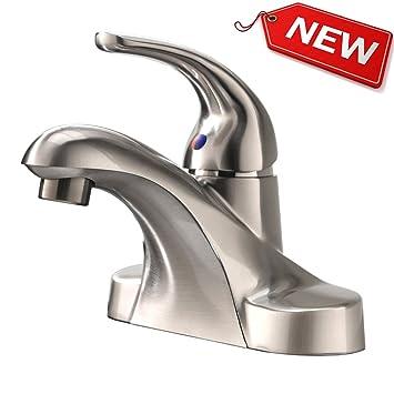 Hotis Modern Single Handle Brushed Nickel Stainless Steel Lavatory Vanity  Basin Vessel Bathroom Sink Faucet,
