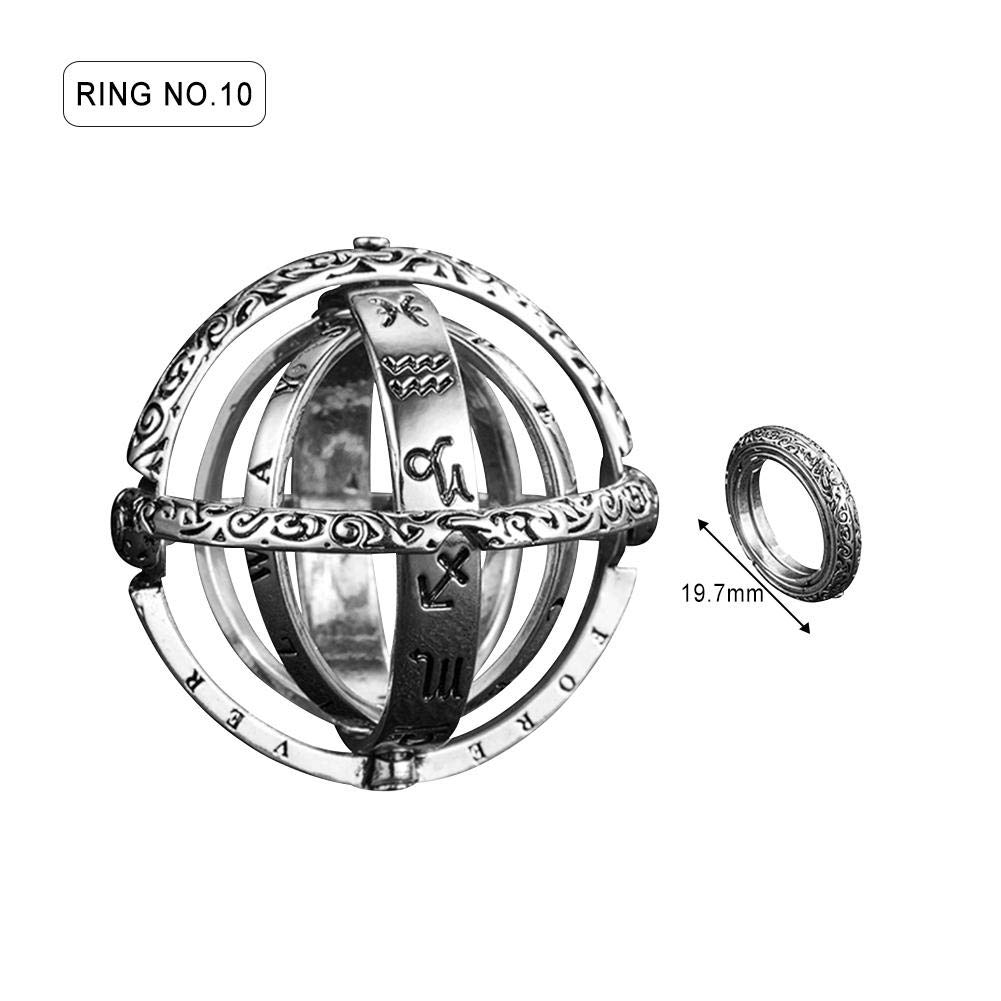 anne210 Astronomical Sphere Ball Ring Cosmic Finger Ring,Astronomical Sphere Ball Couple Ring Faded Effect Retro Astronomical Ring Silver Copper Lover Jewelry Gifts