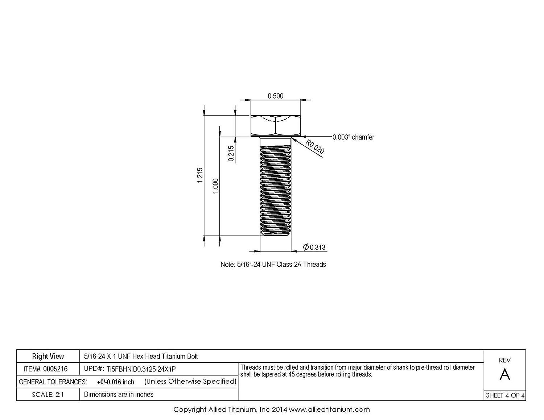 5//16-24 X 1 UNF Titanium Hex Head Bolt Grade 5 Ti-6Al-4V Allied Titanium 0005216, 610881004 Pack of 6 Inc